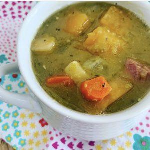 split pea soup with root vegetables and ham
