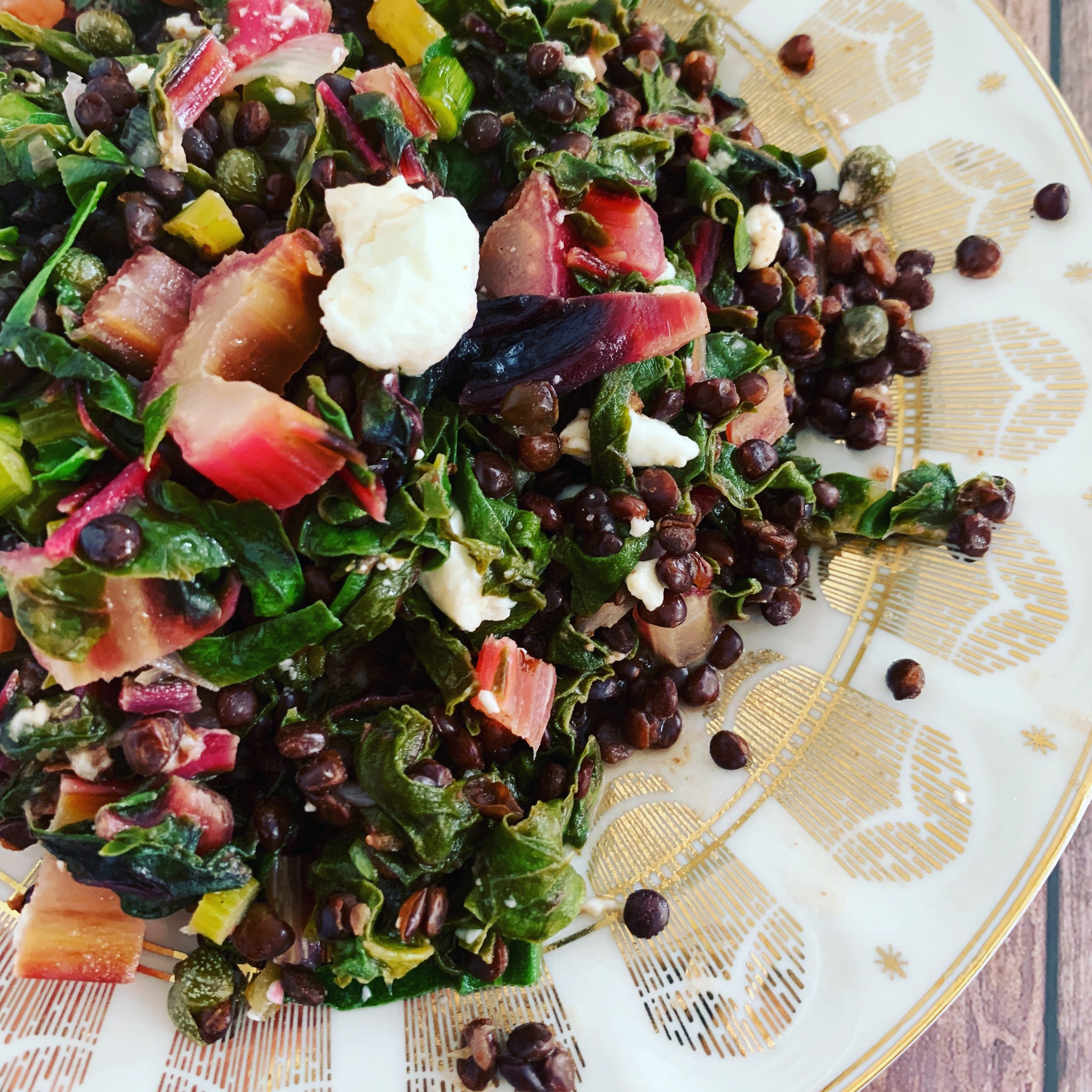 Beluga Lentil Salad With Rainbow Chard Garlic Scapes Coconut Lime