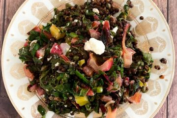 Beluga Lentil Salad with Rainbow Chard & Garlic Scapes