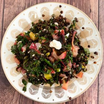 Beluga Lentil Salad with Rainbow Chard & Garlic Scapes