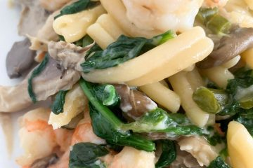 miso pasta with shrimp spinach garlic scapes