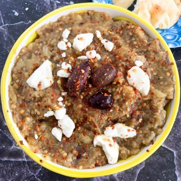 smoky eggplant dip with olives and feta