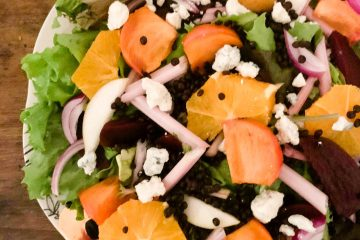 The Salad in Winter (featuring pink celery, persimmons, pear, beet and beluga lentils)