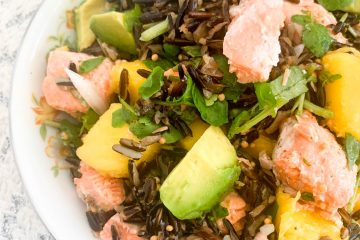 wild rice salad with steelhead trout avocado and mango