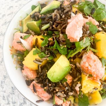 wild rice salad with steelhead trout avocado and mango